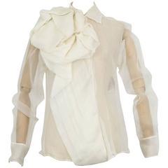 Circa 2004 CHRISTIAN DIOR by John Galliano silk bow sheer blouse unworn
