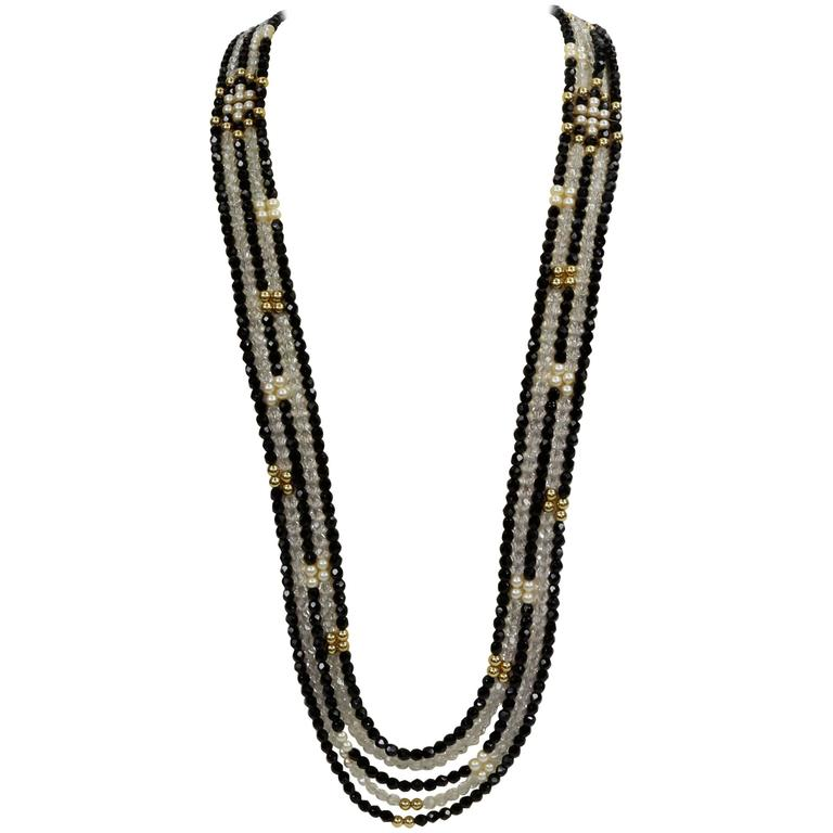 Striking Long Chanel inspired Multi Strand Swarovski Crystal Runway Necklace For Sale