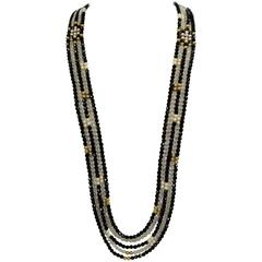 Striking Long Chanel inspired Multi Strand Swarovski Crystal Runway Necklace