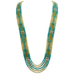 Striking Long Multi Strand Patchwork Faux Turquoise Runway Necklace