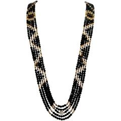 Striking Long Navajo Inspired Multi Strand Swarovski Crystal Runway Necklace