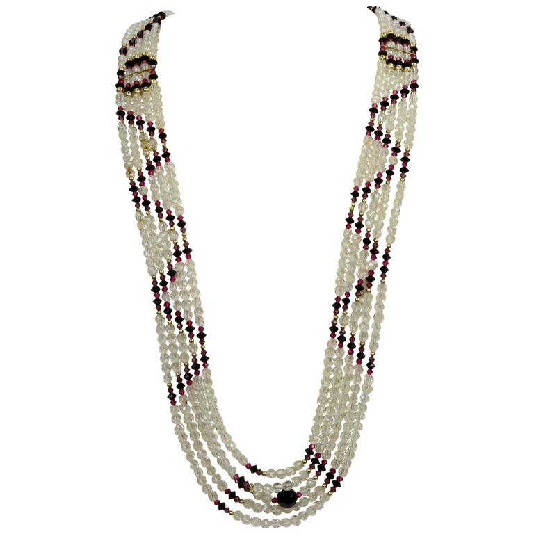 Striking Long Multi Strand Navajo Inspired Swarovski Crystal Runway Necklace For Sale