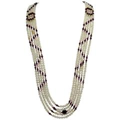Striking Long Multi Strand Navajo Inspired Swarovski Crystal Runway Necklace