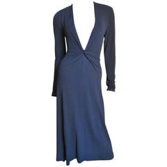 Celine Navy Blue Deep Plunge Dress