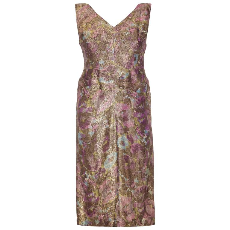 Late 1950's Lame cocktail dress with green and purple floral design