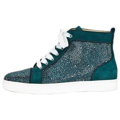 Christian Louboutin Teal Strass Crystal Louis Flat High Top Sneakers Sz 38