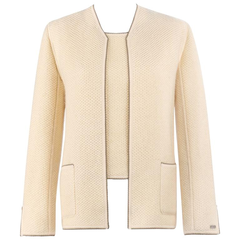 CHANEL Identification A/W 1999 Cream Cashmere Jacket Cardigan Shell Twinset