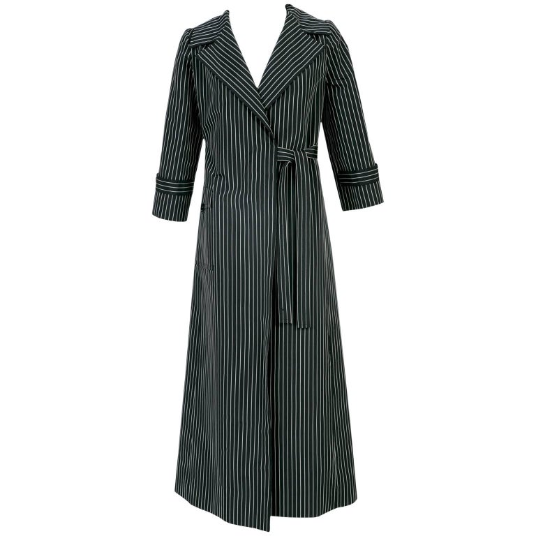 1960s Tiziani Roma by Karl Lagerfeld Black Striped Taffeta Wrap Coat