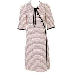 Tiziani Couture By Karl Lagerfeld Ivory Mod Stripe Doll Collar Silk Dress, 1960s