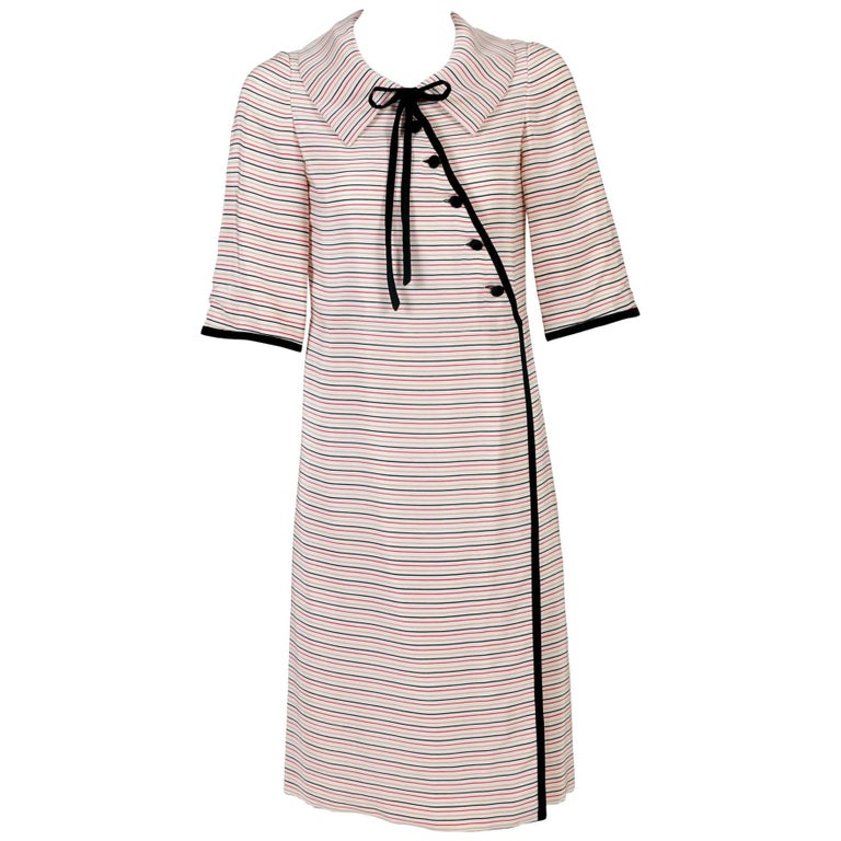 f6edc52c3e Tiziani Couture By Karl Lagerfeld Ivory Mod Stripe Doll Collar Silk Dress