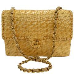 Rare Chanel Wicker Rattan Classic Flap Shoulder Bag