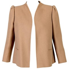 1960s Tiziani Roma By Karl Lagerfeld Tailored Wool/Cashmere Camel Jacket Coat
