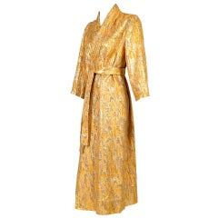 Oscar de la Renta attributed Gold Apricot Metallic Brocade Evening Coat, 1960s