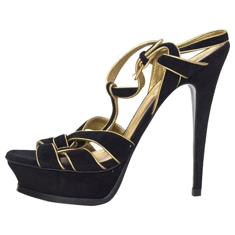 c48804b5c8b YSL Black/Gold Suede Tribute Sandals Sz 38.5