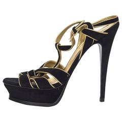 YSL Black/Gold Suede Tribute Sandals Sz 38.5