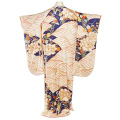 Japanese Kimono Hand Embroidered with Gold
