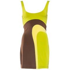 1990S Plein Sud Lime Green & Brown Rayon Blend Jersey Mini Dress