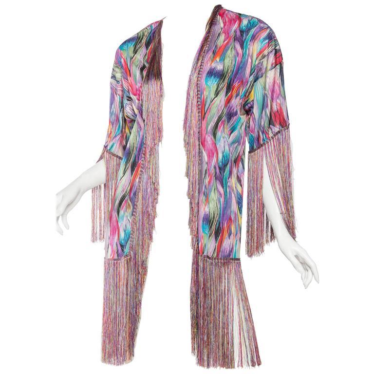 1970s Missoni Fringed Silk Jersey Kimono 1