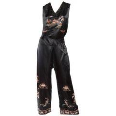 1920S Black Silk Satin Chinese Embroidered Pajamas Set