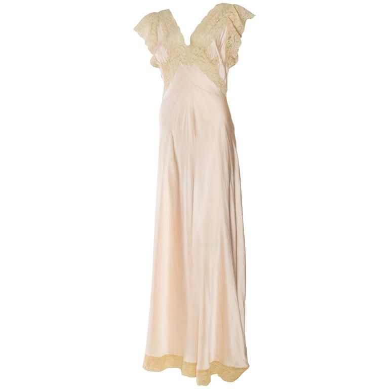 Antique Bias Cut Silk Negligee For Sale