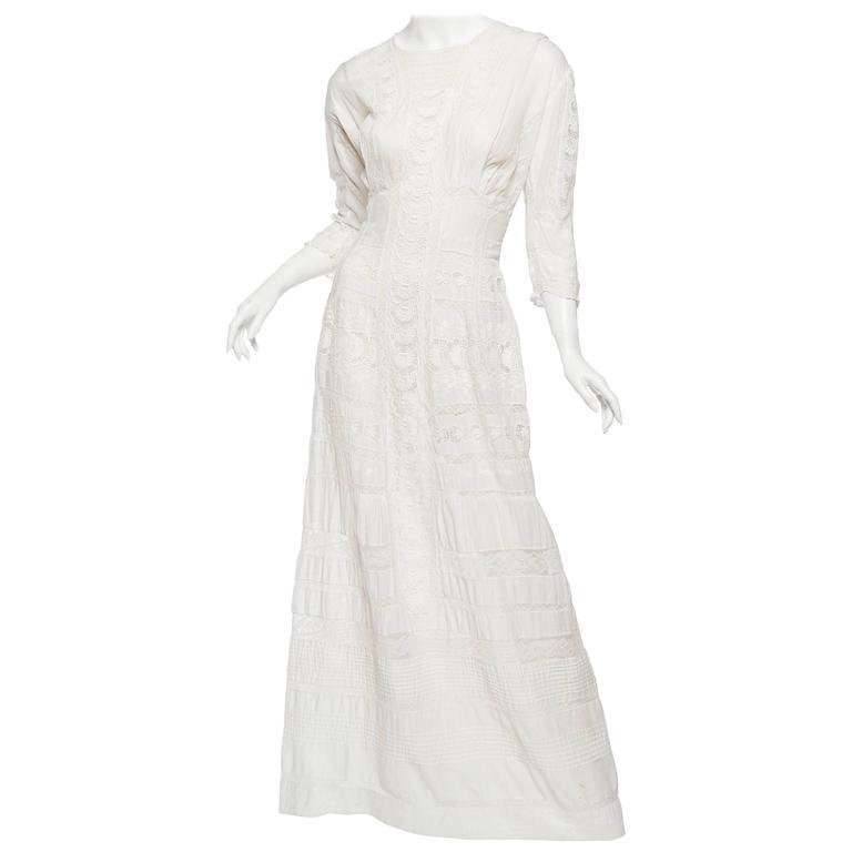 Antique Cotton and Lace Edwardian Tea Dress