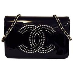 Dazzling Limited Edition Chanel Black Patent Leather WOC With Strass Crystals