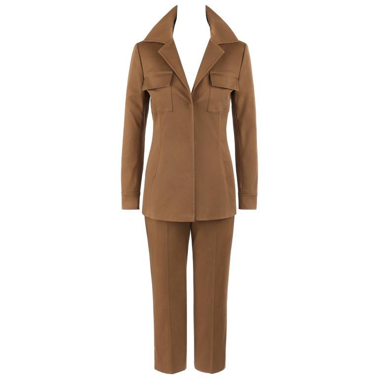 DOLCE & GABBANA Resort 2008 2 Piece Brown Cotton Blazer Cropped Pant Suit Set