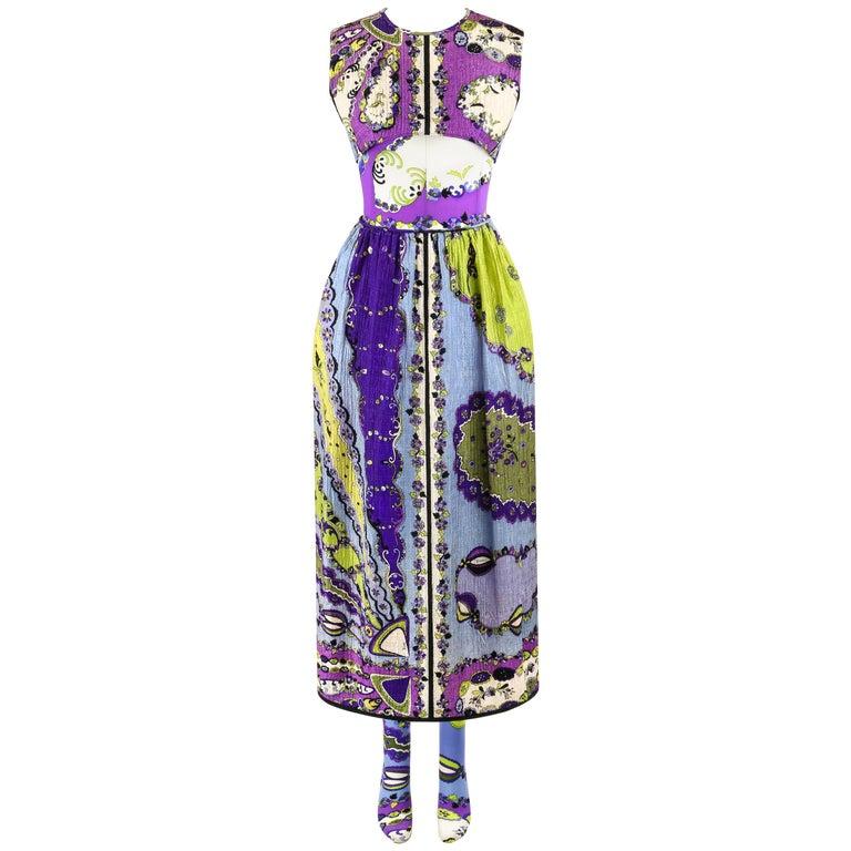 "EMILIO PUCCI S/S 1967 3 Piece ""Isis"" Print Crop Top Skirt Bodysuit Set RARE"