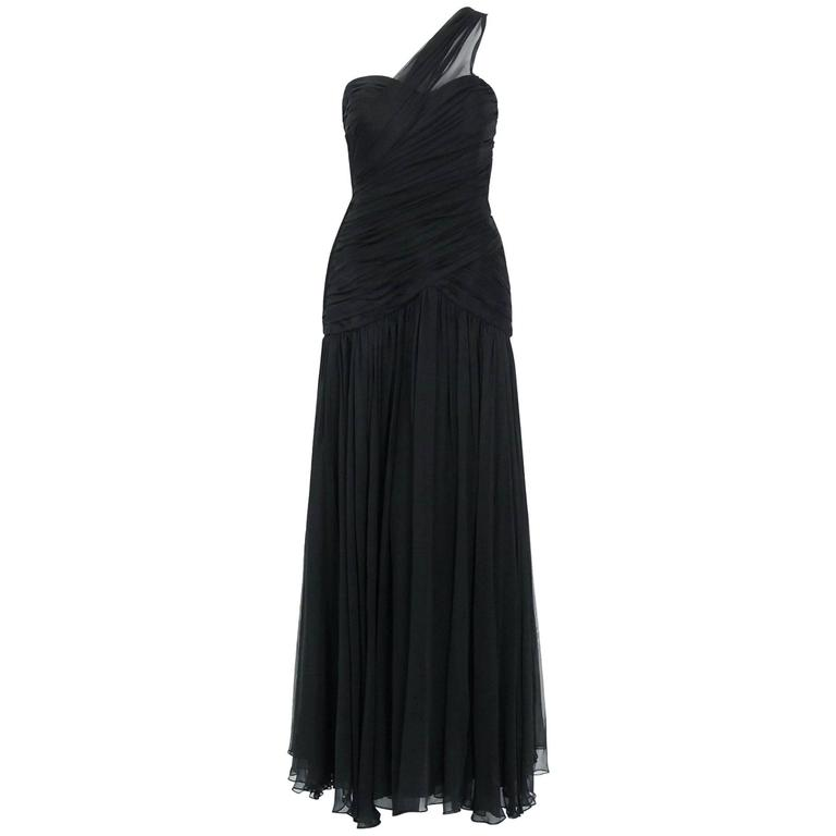 1970's Adele Simpson Black Draped Silk Chiffon One-Shoulder Goddess Dress Gown