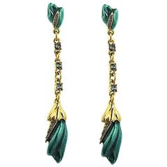Oscar de la Renta  Green Flower Earrings