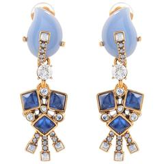 Oscar De la Renta Blue Drop  Earrings