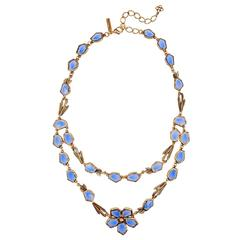 Oscar De la Renta Corn Flower Blue Necklace
