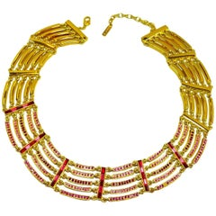 Napier Vintage Multicolor Pink Crystal Necklace