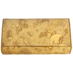 Piero Guidi Gold Tone/Brown Magic Circus Leather Wallet