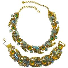 Vintage Rare 1960s Florenza Blue & Citrine Glass Necklace & Bracelet Set