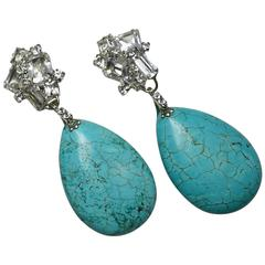 One-of-a-Kind Robert Sorrell Faux Turquoise & Crystal Earrings