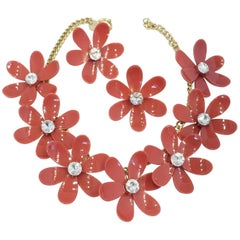 Anka Raspberry Daisy Necklace and Earrings Set