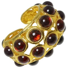 Kenneth Lane Twin Signed Cabochon Red Glass Cuff Bracelet