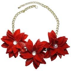 Vintage Red Floral & Crystal Resin Necklace
