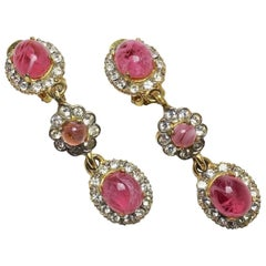 "Vintage Rare 1960s Kenneth Jay Lane ""K.J.L."" Pink Glass Drop Earrings"
