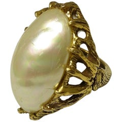 Huge Rare Vintage 1950s Goldette Faux Pearl Ring