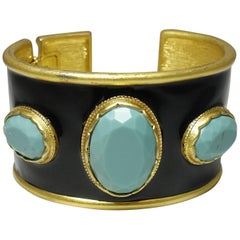 Signed Kenneth Jay Lane Faux Turquoise & Black Enamel Cuff Bracelet