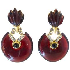 Vintage 1980s French Cranberry & Crystal Drop Earrings