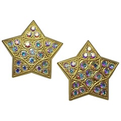 Vintage Signed 1960s Kirks Folly Star Clip Earrings