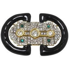 Deco Style Black Enamel With Green & White Crystals Brooch