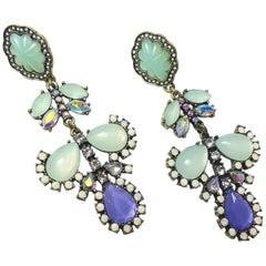 Lulu Frost Faux Peridot & Amethyst Drop Pierced Earrings
