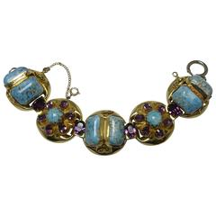 Vintage 1940s Chunky Faux Turquoise & Amethyst Bracelet