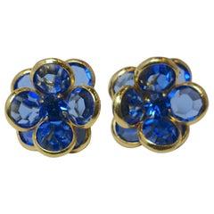 Vintage 1940s Blue Crystal Floral Pierced Earrings