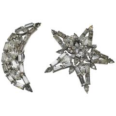 Large Vintage 1960s Whimsical Signed Kirks Folly Star & Moon Crystal Clip Earrin