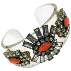 Art Deco Style Vintage Lucite and Faux Coral Cuff Bracelet, 1960s